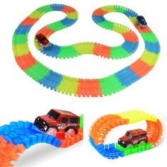 Magic Tracks Bend Flex Glow in the Dark Race Assembly Toy 162/165/220 pcs Race Track + 1pcs LED Car Magic Glow Racing Track #Affiliate