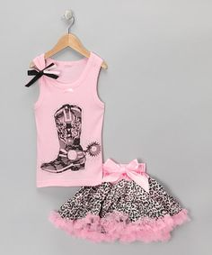 Take a look at this Pink Boot Tank & Leopard Pettiskirt - Infant, Toddler & Girls by So Girly & Twirly on #zulily today!