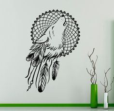 Wolf and Feathers Wall Vinyl Decal Dreamcatcher Wall Sticker
