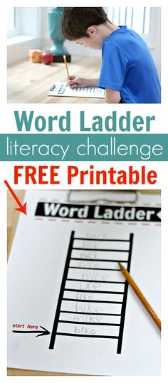 Fun and quick literacy game for kids - FREE WORD LADDERS PRINTABLE