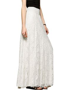 bb4f02f4e9 Women s High Waist A-Line Maxi Lace Skirt - Pure White - CC189UU33EI. Tulle SkirtsWomen s  SkirtsLong ...