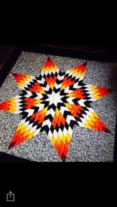 Zebra print Starquilt Lone Star Quilt Pattern, Barn Quilt Patterns, Star Quilt Blocks, Star Quilts, Native American Crafts, Native American Beadwork, 3d Rangoli, Hunters Star Quilt, Southwest Quilts