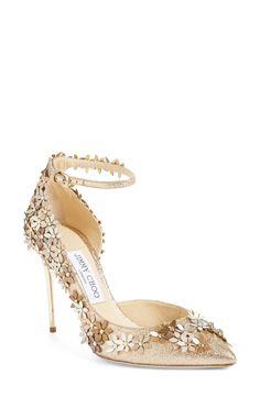 7e38aeeac60f Jimmy Choo  Lorelai  Floral Embellished Ankle Strap Pump (Women) Bridal  Wedding Shoes