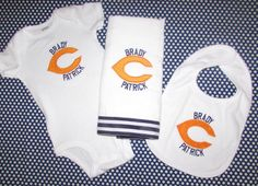 Personalized Chicago Bears Baby Bib and Burp Cloth Football Set
