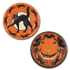 Invite the gang in costumes, It's Halloween party time! Bring out the munchies, treats and good eats. Our orange and black retro scratch cat and jack-o-lantern paper plates are printed with reproducti