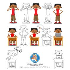Riley Set 1 from the New Kids in Town series. PNG file format with transparent background. 12 Figures color and 12 figures black and white. Classroom clip art with Riley, closing ears, closing eyes, hands on hips, with school bag, with protractor, with iPad, with books, with graphing calculator, writing, putting hand in air, with laptop and reading.  http://www.teacherspayteachers.com/Product/Boy-in-Classroom-setting-Riley-Set-1-1250467