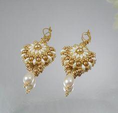 Woven Dangle Earrings Woven with Cream Swarovski by IndulgedGirl