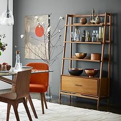 Inspired by American modern design, the Mid-Century Wide Bookshelf borrows its slim legs and beveled edges from iconic and furniture silhouettes. Mid Century Bookshelf, Bookshelves, Bookcase, 60s Furniture, Mid Century Furniture, Dining Room Furniture, Furniture Ideas, Entryway Furniture, Bedroom Sets