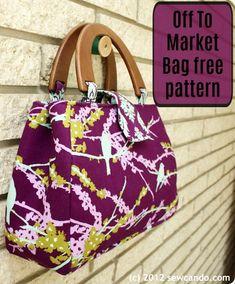Off To Market Bag free pattern – Sew Modern Bags – purses and handbags diy Handbag Patterns, Bag Patterns To Sew, Sewing Patterns Free, Free Sewing, Pattern Sewing, Patchwork Patterns, Patchwork Designs, Diy Handbag, Diy Purse