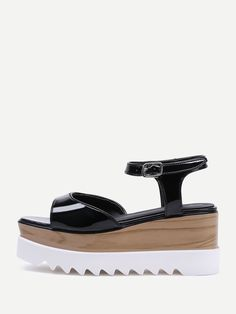 67d0a000b7a0f Shop Patent Leather Cork Heel Wedge Sandals online. SheIn offers Patent  Leather Cork Heel Wedge