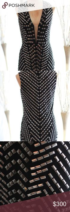 Jovani 6323 studded dress Jovani 6323 black party dress with silver studs Jovani Dresses Midi