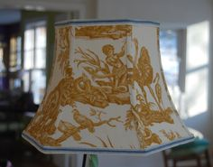 Lamp Shade Yellow Toile Lampshade French Designer by lampshadelady