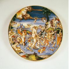 The Triumph of Neptune, a maiolica dish by Francesco Xanto Avelli da Rovigo, 1533; Neptune is shown with his trident symbolic attribute. (The Wallace Collection)