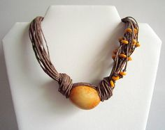 Yellow Tagua Nut  Beads Organic Linen Necklace by ArteTeer on Etsy, $22.00