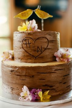 Two Tier Round Chocolate Wedding Cake With Bird Topper