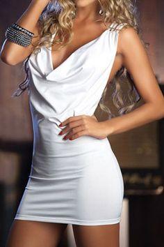White Deep V Neckline Club Dress With Open Back and Shredded Shoulders | Babydoll Lingerie