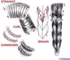 braided hair sketch - Google Search