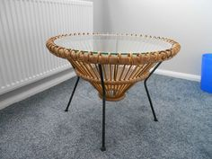 Lovely Rattan Wicker Steel And Glass Coffee Table In Antiques,