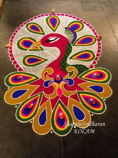 #peacock#kolam#pink#green