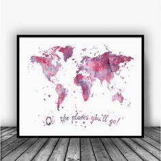 Oh the places, you'll go red Watercolor Art Print Poster. Disney Quotes For Home Decoration, Nursery and Kids Room Decor.