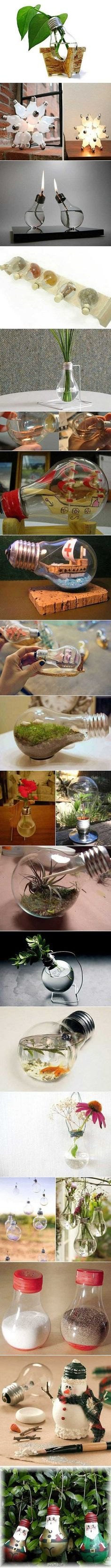 Reuse light bulbs to make house hold items.Cool!