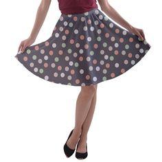 Spring Wedding Dots  A-line Skater Skirt.
