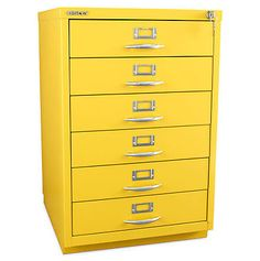Bisley 6-Drawer Classic Front Filing Cabinet. Brighten up your office and keep your files organized. #contemporary #furniture Furniture Making, Office Furniture, Sweet Home Design, Cabinets For Sale, Mellow Yellow, Color Yellow, Colour, Yellow, Atelier