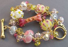 Bling Dog Bone Bracelet Pink Yellow Lampwork Jewelry - handmade with artisan lampwork at For Love of a Dog Jewelry & Gifts