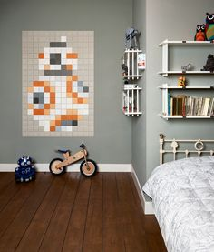 IXXI presents pixelated icons from the original Star Wars trilogy in a modern version. Stubborn droid BB-8 shines alongside Rey in The Force Awakens and therefore earns a place in our Star Wars pixel collection. Get inspired at www.ixxidesign.com/starwars   #IXXI #ixxiyourworld #StarWars #BB8 #TheForceAwakens #home #interior #inspiration #pixel #art #bedroom #starwarsbyixxi #starwarsfan