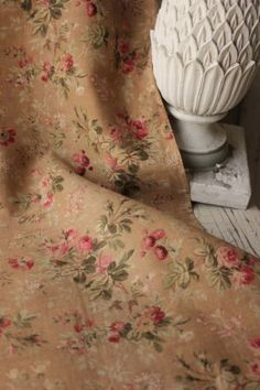 Antique French rose floral 19th century rose floral fabric material vintage old