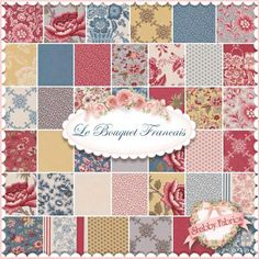 "Le Bouquet Francais  Charm Pack By French General For Moda Fabrics: Le Bouquet Francais by French General for Moda Fabrics.  100% cotton.  This charm pack contains 42 squares, each 5"" x 5""."