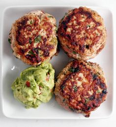 Jalapeño Chicken Burgers with Guacamole