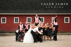 Wedding Party - Country - Outdoor - Red Barn - Pink Vests - Wedding
