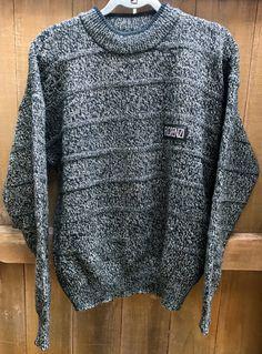 Vintage Medium Black 1990s Sweater Florenzi Collection Crewneck Acrylic Black White Retro Menswear New Wave Style