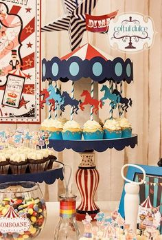 Circus Theme Candy Bar Coltul Dulce / Candy Bar / Dessert Table / Sweet Corner http://www.coltuldulce.ro