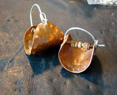 Baskets.  copper, silver, glass beads