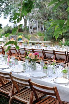 garden reception, photo by Alders Photography http://ruffledblog.com/oxnard-barn-wedding #weddingreception #tablescapes #backyardwedding