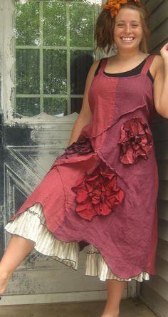 Robe de lin fleur ondulée rose et cerise par sarahclemensclothing, $169.00
