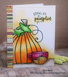 Running With Scissors...: Pumpkin Spice is Nice.  #Verve Coffee Please digital stamp set.  Watercolored with Gansai Tambi paints