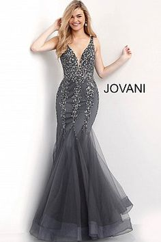 8fdbbf2bb0 Charcoal Plunging Neckline Beaded Mermaid Prom Dress 63700 Plus Size Prom  Dresses