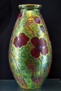"""Art Nouveau """"Poppies"""" Vase by Zsolnay, Hungary ca.1900"""