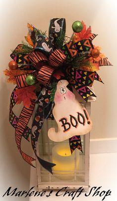 Funky Halloween Bow with Ghost/ Halloween by MarlenesCraftShop