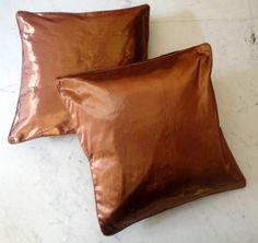 ($29.99) 2 Modern Luxury Shiny Metallic Brown Color Cotton Viscose Throw Pillow Cushion Covers From Krishna Mart India