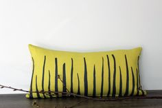 Items similar to Decorative appliqued Pillow Case by Lempi design. Verso burned yellow and grey Mohair felt. on Etsy