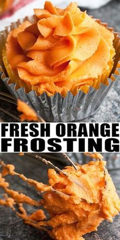 ORANGE FROSTING RECIPE Quick easy fresh made with simple ingredients perfect for Summer desserts This fluffy creamy orange buttercream icing tastes great on cakes cupcake. Homemade Frosting, Frosting Recipes, Cupcake Recipes, Baking Recipes, Dessert Recipes, Cake Filling Recipes, Icing Recipe For Cupcakes, Cupcake Frosting, Buttercream Icing