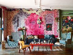 Color, textures, patterns, and more color are what's hot in interior design. View this complete guide to maximalist interiors - maximal style, the Boho Luxe Home way. Modern Interior Design, Interior Styling, Interior Decorating, Bohemian Decorating, Bohemian Interior, Cafe Interior, Maximalist Interior, Turbulence Deco, Home Wallpaper