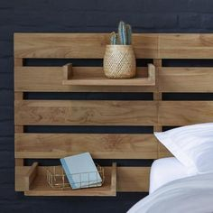 Bett Kopfteil Headboard for bed made of teak 270 Urbain Headboard for bed made of teak 270 Urbain Id Corner Headboard, Double Headboard, Modern Headboard, Diy Wooden Headboard, Diy Bed Headboard, Storage Headboard, Headboard Ideas, Ikea Mandal Headboard, Make Your Own Headboard