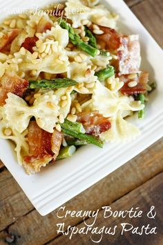 This Creamy Bowtie Asparagus Pasta is loaded with bacon, asparagus, and pine nuts. Serve with chicken to make a complete meal. So tasty! The Creamy Bowtie Pasta Back Story This creamy bowtie & … Luncheon Recipes, Dinner Recipes, Pasta Recipes, Cooking Recipes, Healthy Recipes, Gf Recipes, Empanadas, Pasta Dishes, Food Dishes