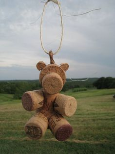 Wine Cork Teddy Bear Ornament von KrushedandKreated auf Etsy