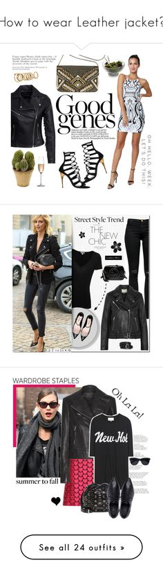 """""""How to wear Leather jacket?"""" by mcheartsu ❤ liked on Polyvore featuring Balmain, New Look, Avenue, Nearly Natural, Lipsy, Nambé, Rogaska, print, Parker and graphical"""